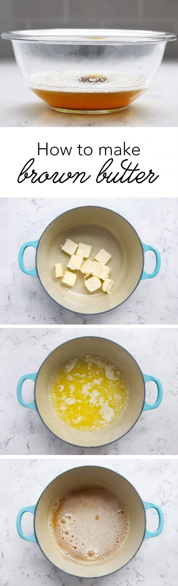Step by step tutorial on how to make Brown Butter. Brown Butter is the perfect way to take any recipe up a notch. Aka liquid gold!