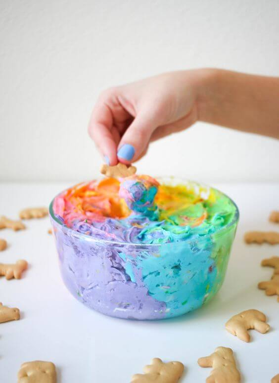 Rainbow dip + Top 50 Rainbow Desserts - the perfect way to celebrate St. Patrick's Day and welcome spring!