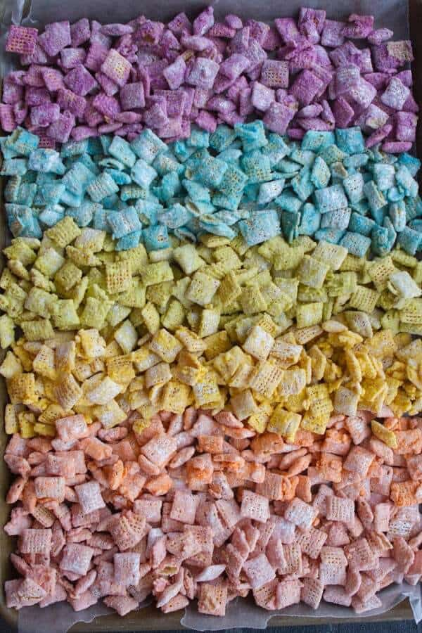 Rainbow chex mix + Top 50 Rainbow Desserts - the perfect way to celebrate St. Patrick's Day and welcome spring!