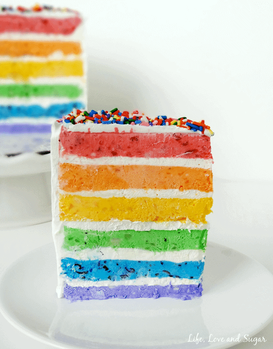 Rainbow ice cream cake + Top 50 Rainbow Desserts - the perfect way to celebrate St. Patrick's Day and welcome spring!