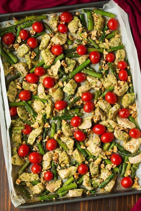 Pesto chicken + 25 Delicious Sheet Pan Dinner Recipes that will make dinnertime a dream with easy prep work and less dishes!