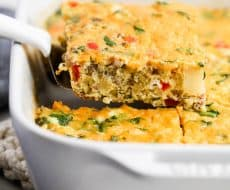 Make ahead breakfast casserole -one of my go-to easy breakfast recipes! This sausage and egg breakfast casserole is one of my families favorites to make for Sunday brunch and holidays.