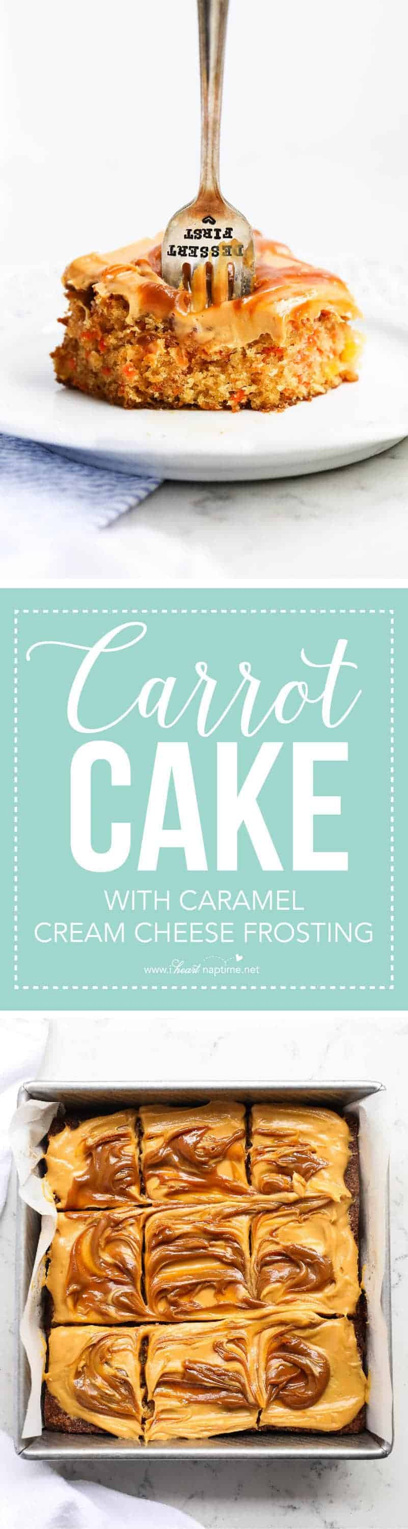 Carrot Cake with Caramel Cream Cheese Frosting ...the perfect dessert to make for Easter Sunday or any celebration!