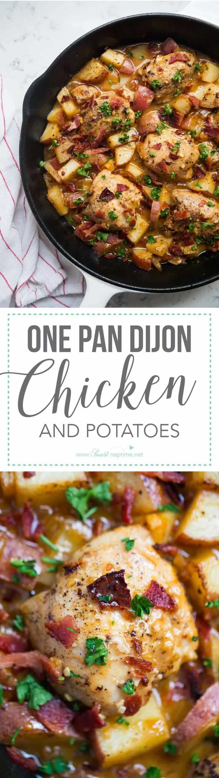 One Pan Dijon Chicken and Potatoes Recipe ...the caramelized onions, roasted potatoes, juicy chicken, and dijon glaze give this dish so much flavor!