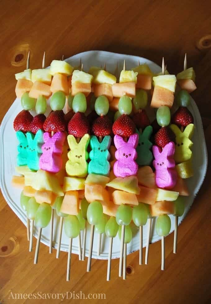peeps fruit kabobs amees savory dish + Top 50 Easter Brunch Recipes that will please every guest on your list!