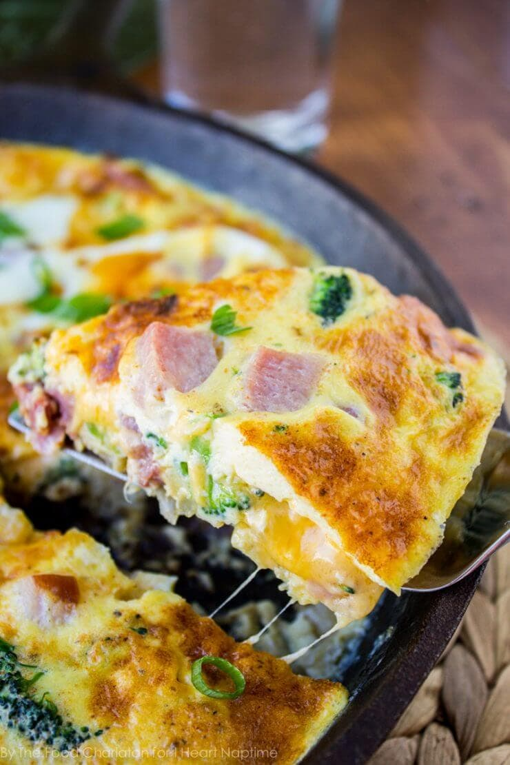 cheesy ham broccoli frittata + Top 50 Easter Brunch Recipes that will please every guest on your list!