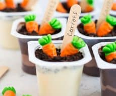 Spring Pudding Cups ...such a fun dessert for the kids to make on Easter. All you need is pudding cups, crushed cookies, gummy carrots and wooden spoons.