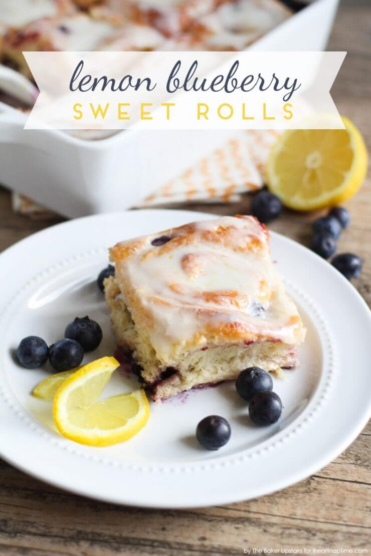lemon blueberry sweet rolls + Top 50 Easter Brunch Recipes that will please every guest on your list!