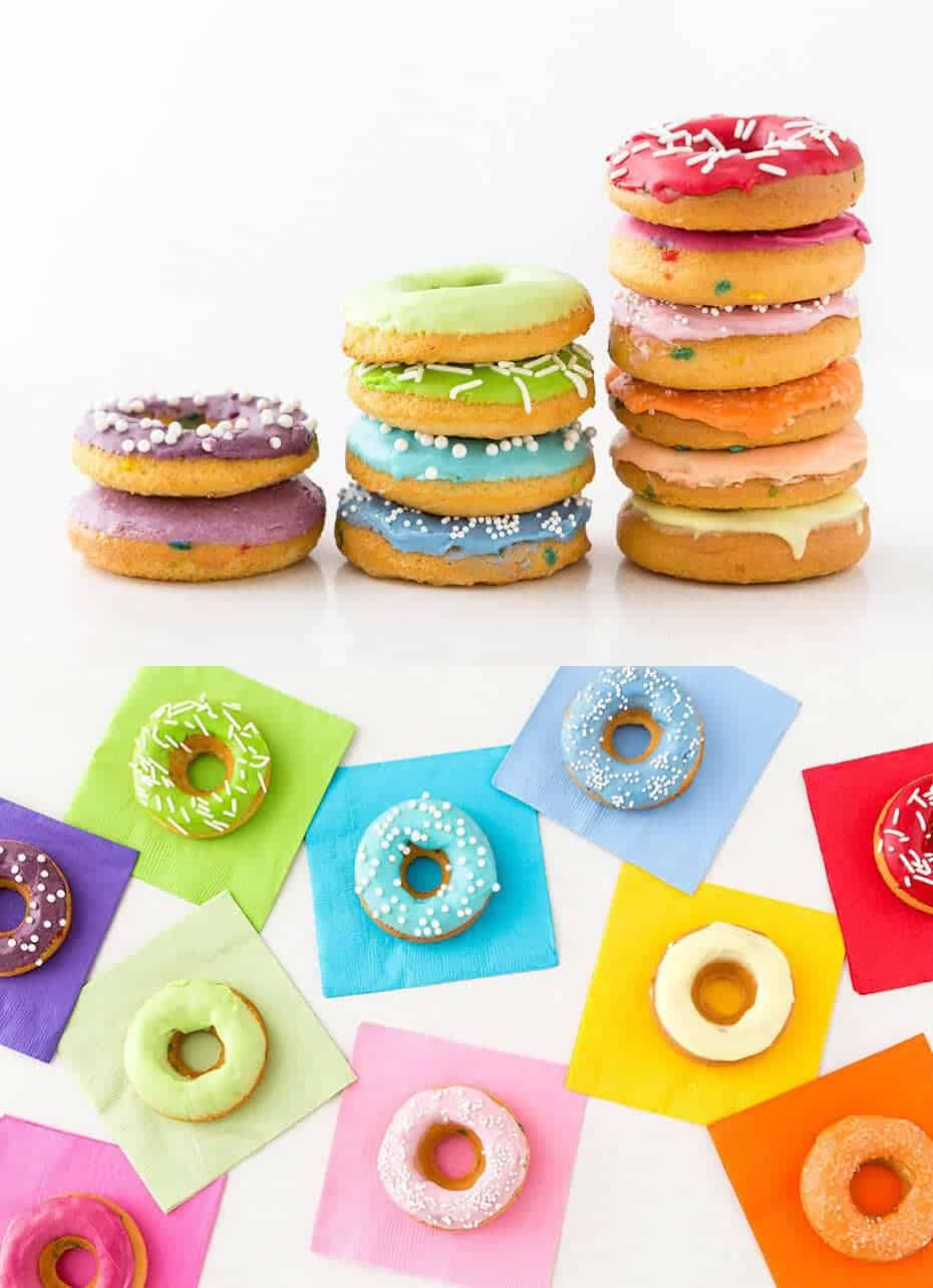 Rainbow donuts + 50 Rainbow Desserts - the perfect way to celebrate St. Patrick's Day and welcome spring!
