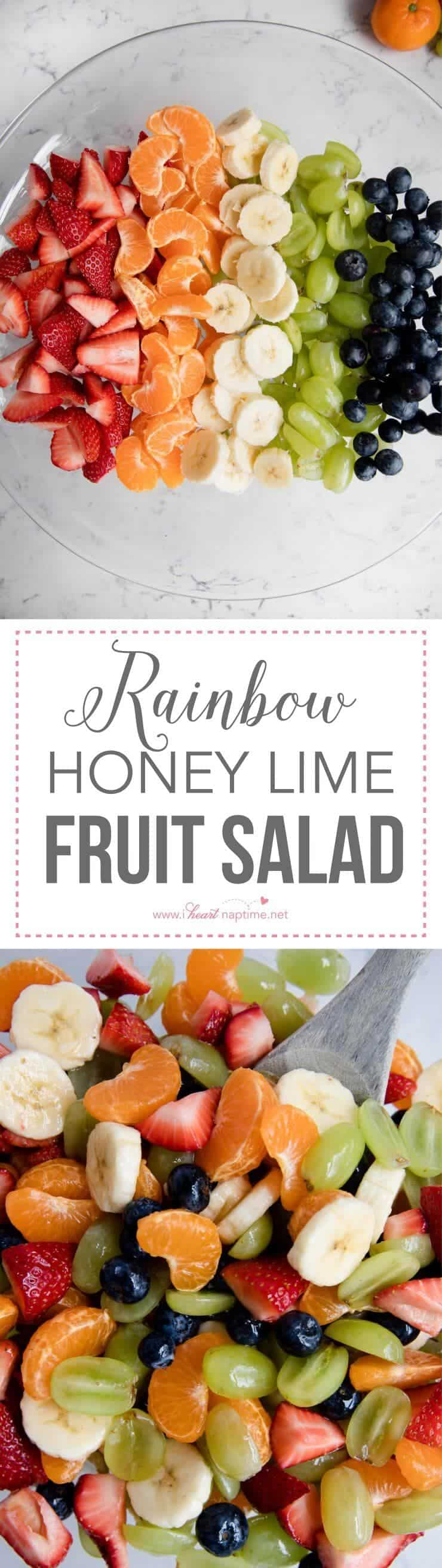 Rainbow Honey Lime Fruit Salad ...filled with fresh strawberries, oranges, bananas, grapes and blueberries. Topped with a honey lime glaze. This fruit salad is very easy and very tasty!