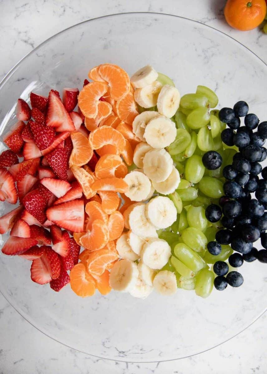fruit salad in glass bowl