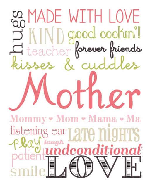 Mom Subway Art Printable + 25 Free Mother's Day Printables – Beautiful and easy gift ideas to honor the women who make the world go round!