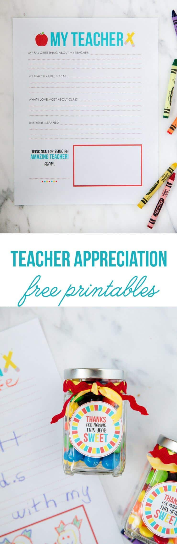 All About My Teacher Printable ...the perfect gift for teacher appreciation!