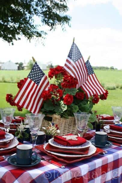 American Flag Flower Basket + 50 Festive Memorial Day BBQ Ideas...creative ways to kick-off summer and celebrate our freedom while remembering our fallen heroes!