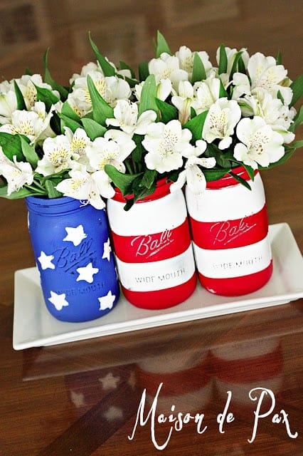 American Flag Mason Jars + 50 Festive Memorial Day BBQ Ideas...creative ways to kick-off summer and celebrate our freedom while remembering our fallen heroes!