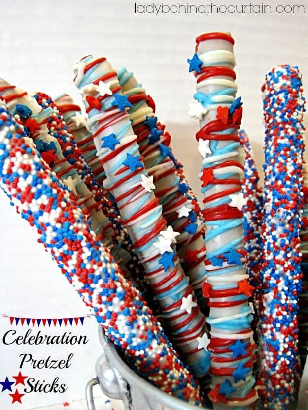 Celebration Pretzel Sticks + + 50 Festive Memorial Day BBQ Ideas...creative ways to kick-off summer and celebrate our freedom while remembering our fallen heroes!