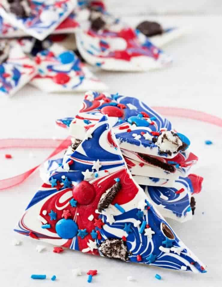 Festive Red White and Blue Bark + 50 Festive Memorial Day BBQ Ideas...creative ways to kick-off summer and celebrate our freedom while remembering our fallen heroes!