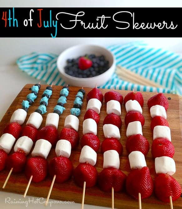 Fruit Skewers + 50 Festive Memorial Day BBQ Ideas...creative ways to kick-off summer and celebrate our freedom while remembering our fallen heroes!