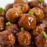 Slow Cooker Hawaiian Meatballs ...this recipe only takes 3 ingredients and 5 minutes to make! So easy and always a crowd pleaser. Makes the perfect appetizer or main dish.