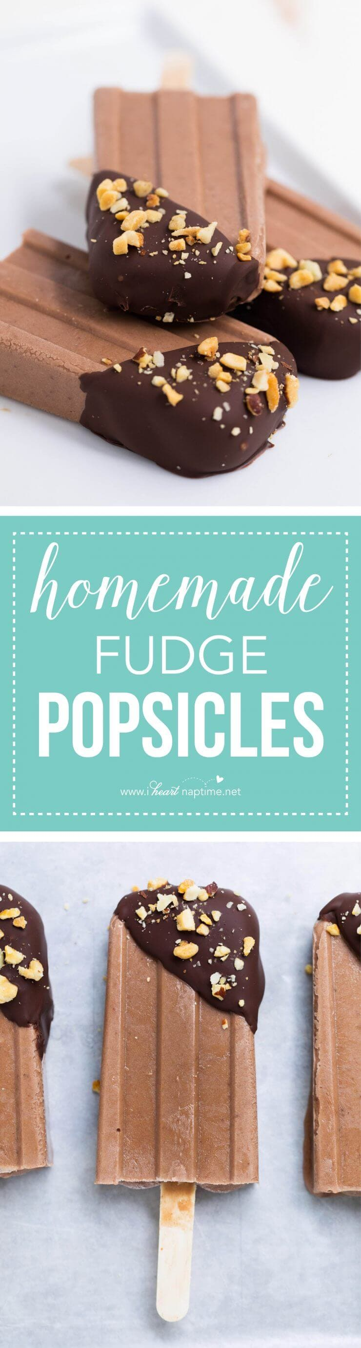 Easy homemade fudge popsicles -made with only 5 ingredients! Super creamy and delicious.