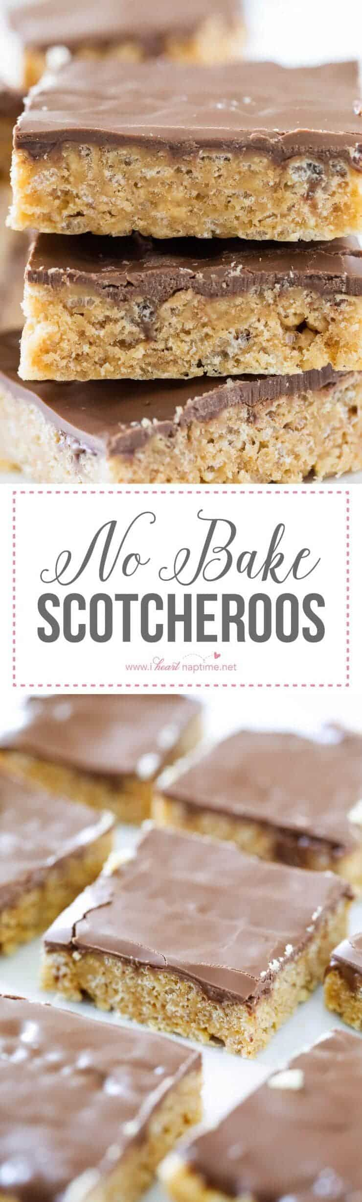 No Bake Scotcheroos ...chewy, crispy peanut butter bars that are topped with a chocolate and butterscotch ganache.