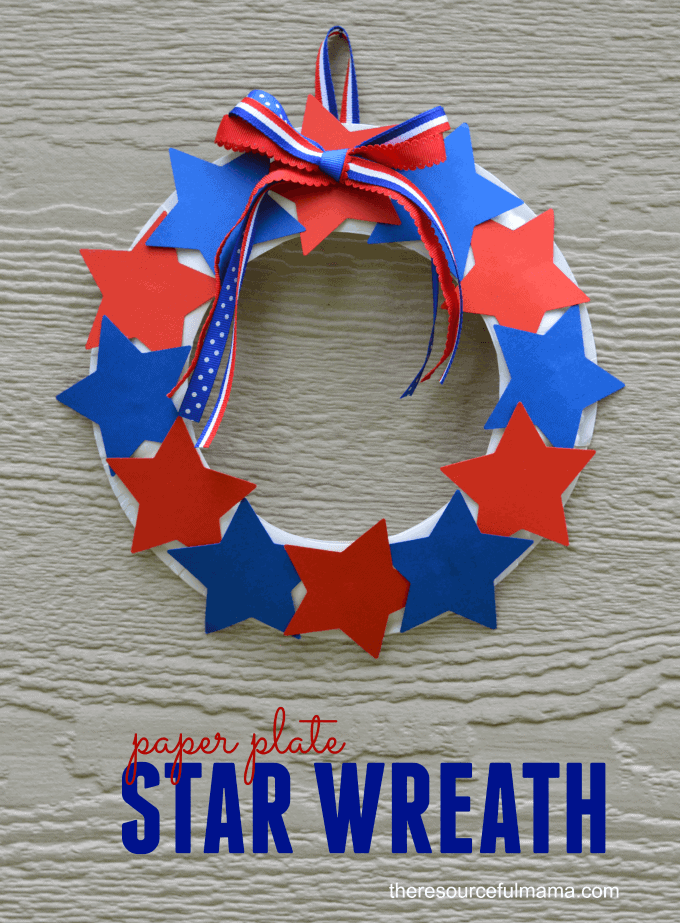 Paper Plate Star Wreath + 50 Festive Memorial Day BBQ Ideas...creative ways to kick-off summer and celebrate our freedom while remembering our fallen heroes!