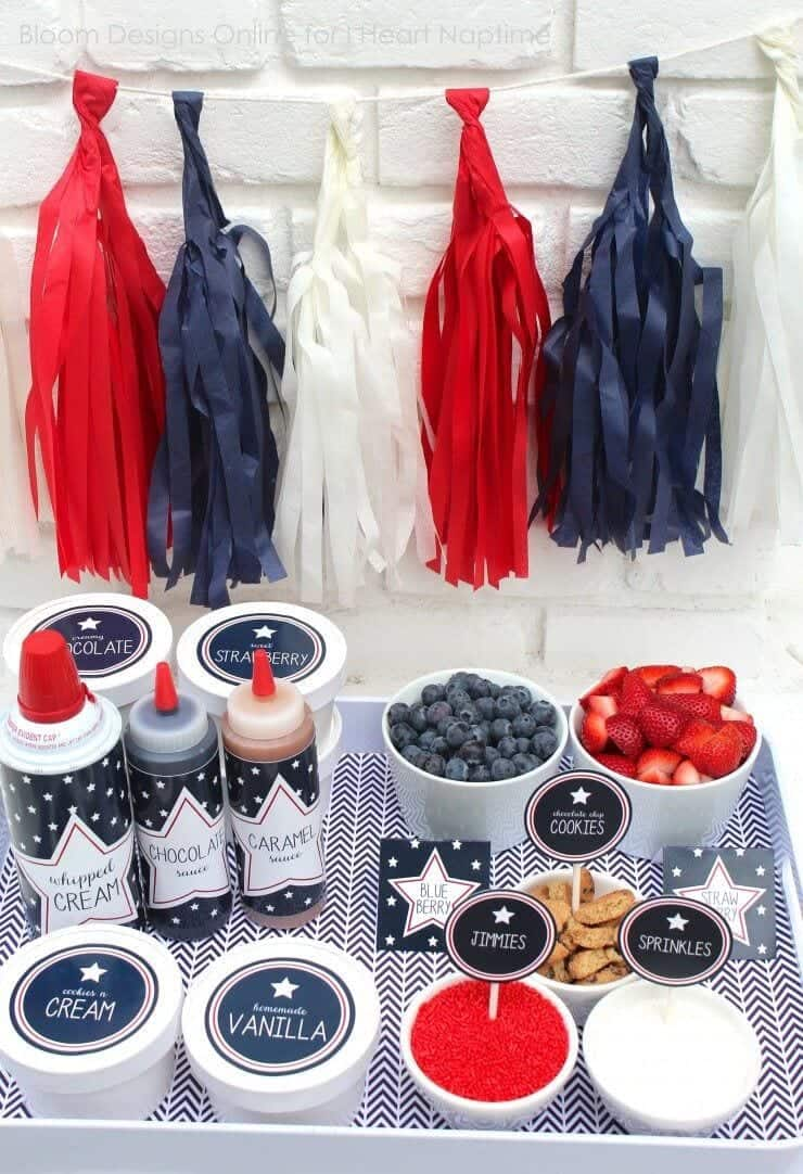 Patriotic Sundae Bar Printables + 50 Festive Memorial Day BBQ Ideas...creative ways to kick-off summer and celebrate our freedom while remembering our fallen heroes!