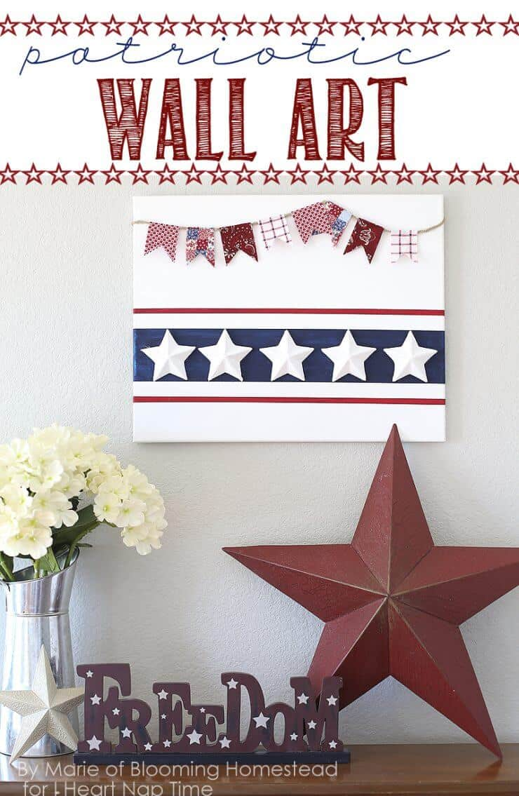 Patriotic Wall Art + 50 Festive Memorial Day BBQ Ideas...creative ways to kick-off summer and celebrate our freedom while remembering our fallen heroes!