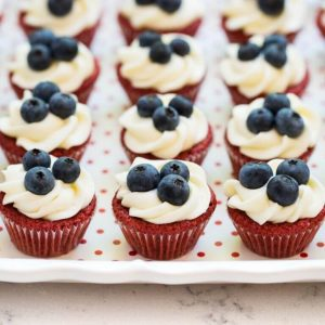 Red Velvet Brownie Cups + 50 Festive Memorial Day BBQ Ideas...creative ways to kick-off summer and celebrate our freedom while remembering our fallen heroes!