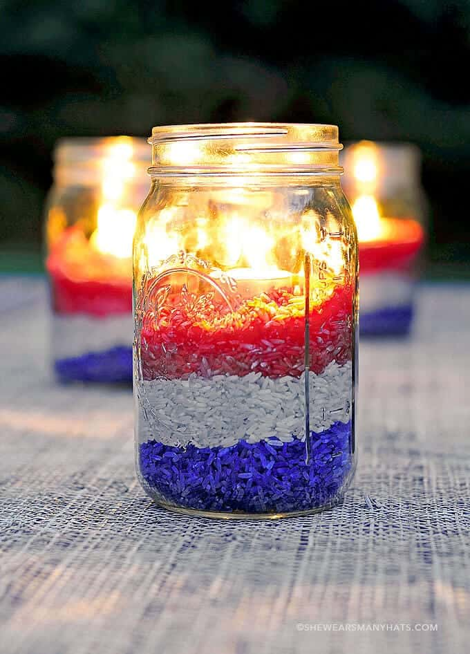 Red White Blue Rice Candle Centerpiece + 50 Festive Memorial Day BBQ Ideas...creative ways to kick-off summer and celebrate our freedom while remembering our fallen heroes!