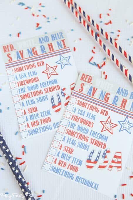 Red White Blue Scavenger Hunt + 50 Festive Memorial Day BBQ Ideas...creative ways to kick-off summer and celebrate our freedom while remembering our fallen heroes!
