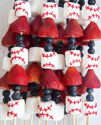 baseball decorated fruit skewers