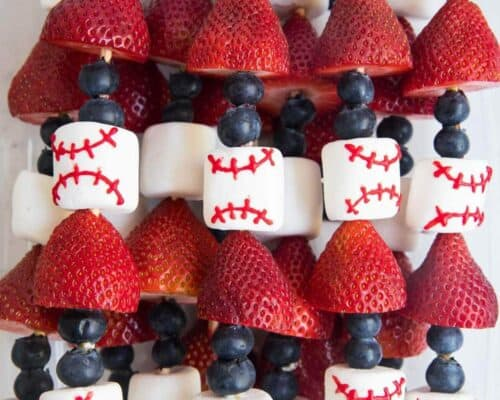 baseball decorated fruit skewers