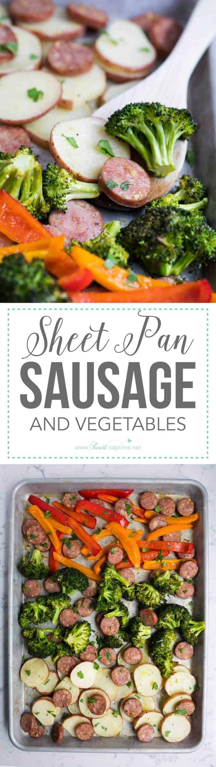 Sheet pan sausage and vegetables -a healthy recipe that is SO easy to make and is full of flavor. Whole 30 approved!