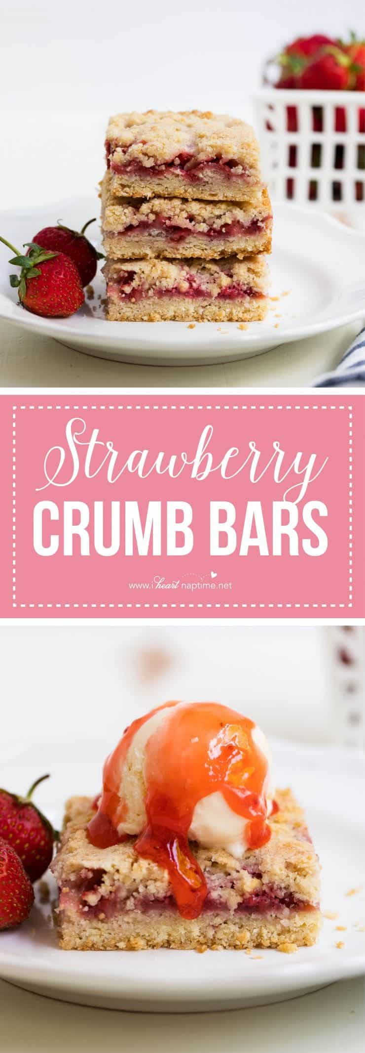 Strawberry crumb bars made with an easy crumb crust, strawberry filling and buttery crumb topping. The perfect summer dessert!