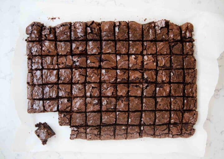 baked brownies cut into 1 inch squares