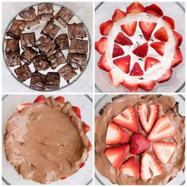 Brownie strawberry trifle made with layers of strawberries, chocolate pudding, cream and brownies.