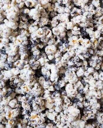 A close up of cookies and cream popcorn