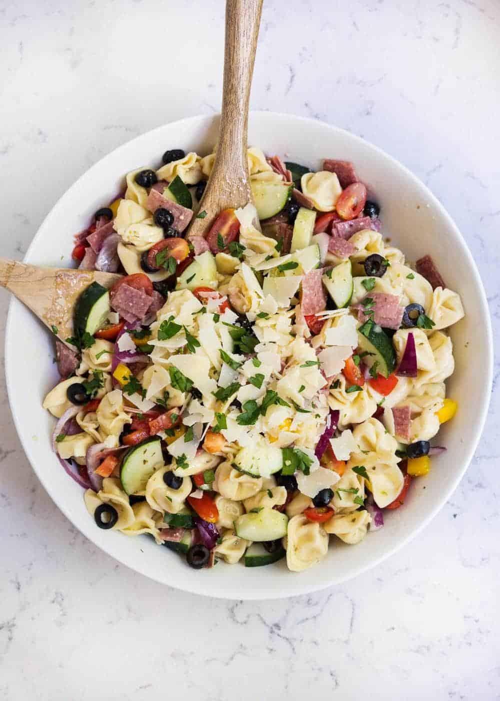 bowl of tortellini salad