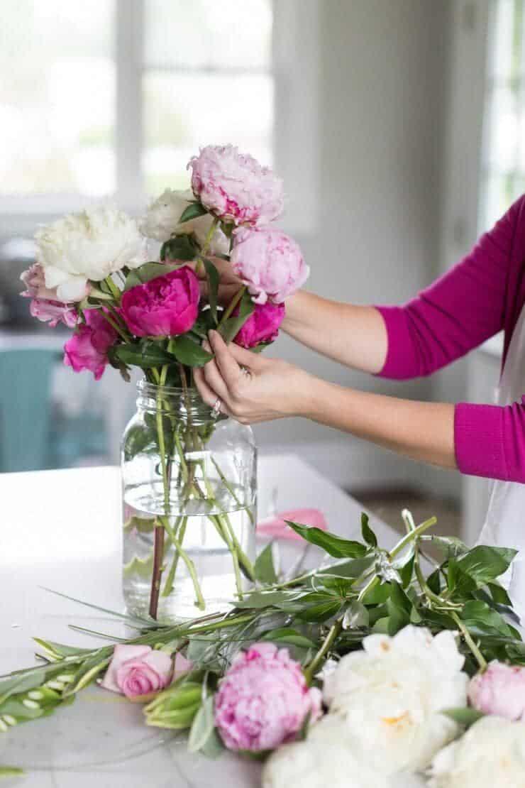 Pink peonies flower arrangement