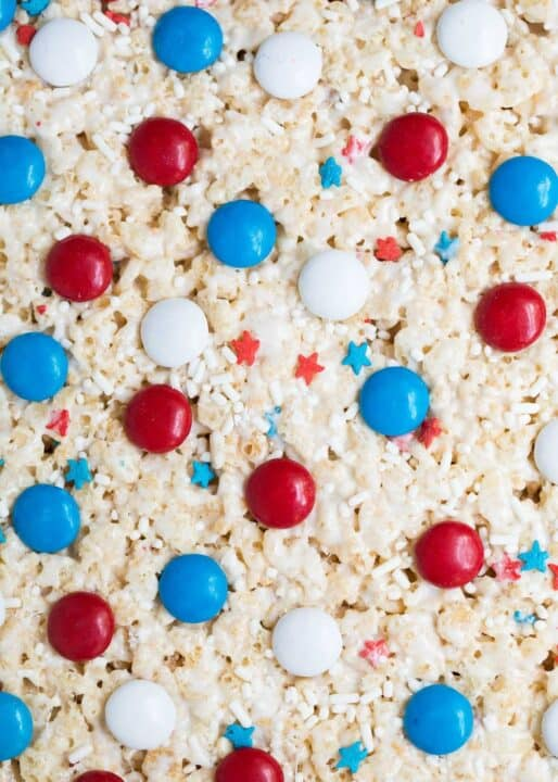 red white and blue rice krispies with M&M's and sprinkles
