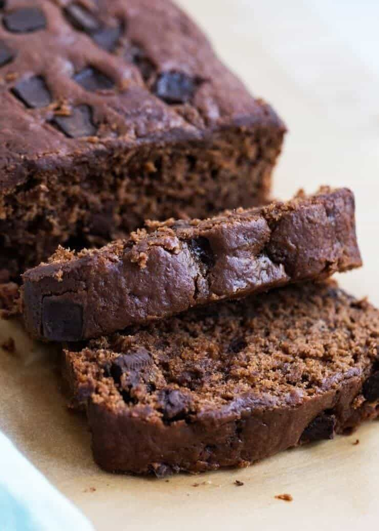 Heavenly double chocolate banana bread -so soft and bursting with banana and chocolate flavor. The perfect recipe to use up ripe bananas!