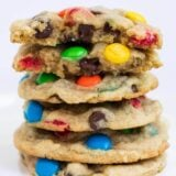 stack of chewy M&M cookies