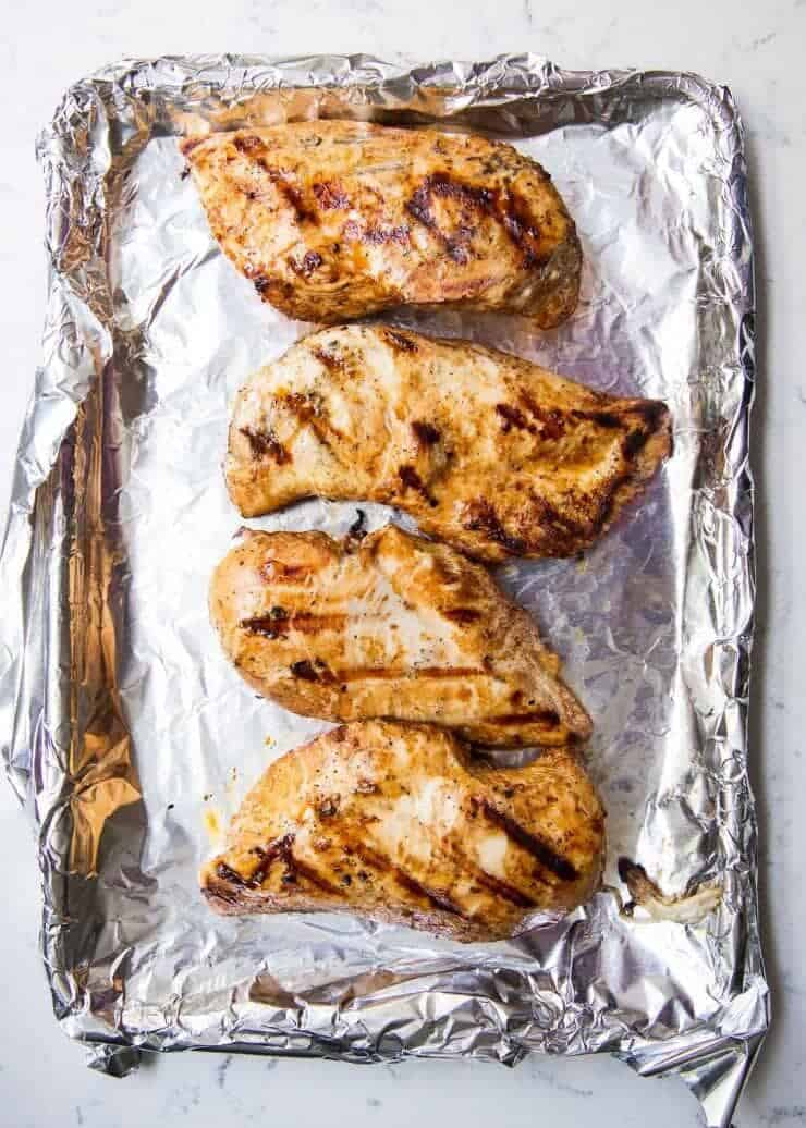 This is the best easy grilled chicken marinade. SO much flavor and keeps the chicken tender!