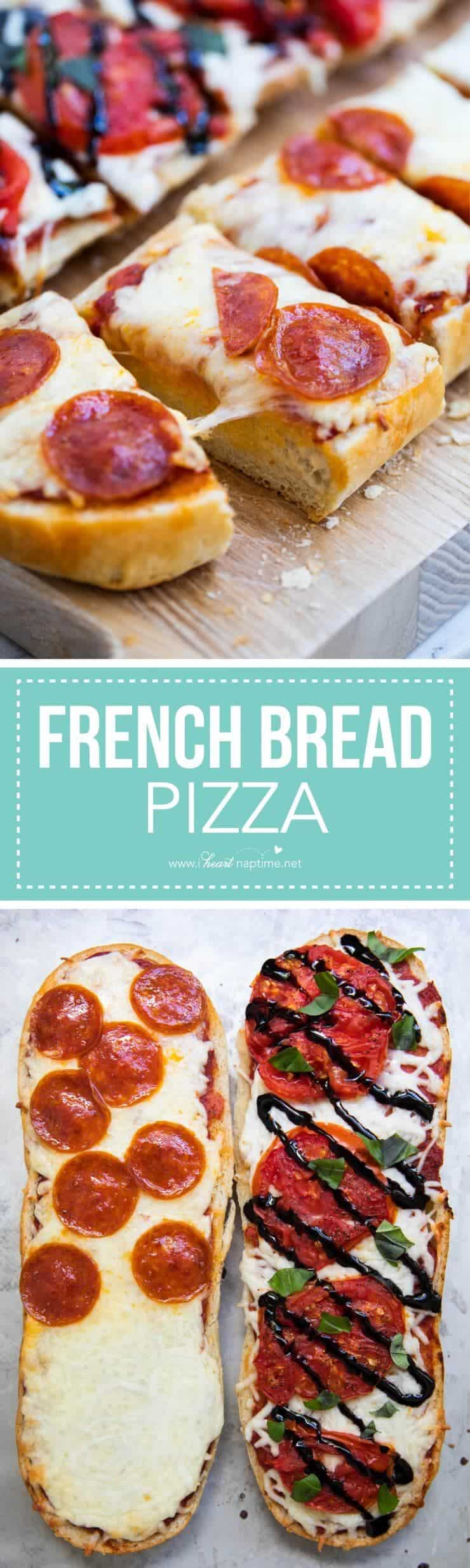 Homemade garlic french bread pizza -so easy and delicious! Easy to customize with all your favorite toppings! A simple recipe that kids and adults will love.