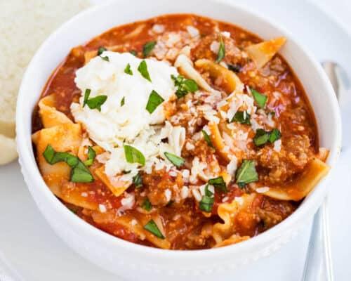 a bowl of lasagna soup