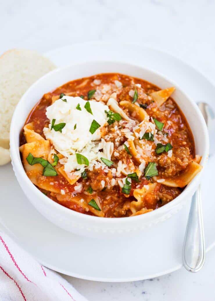 The BEST lasagna soup -like homemade lasagna without all the work! The perfect weeknight dinner.