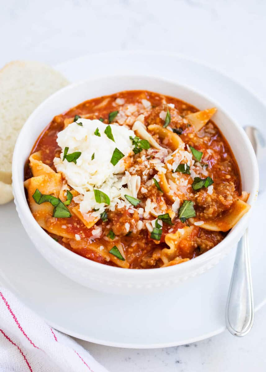 a bowl of lasagna soup