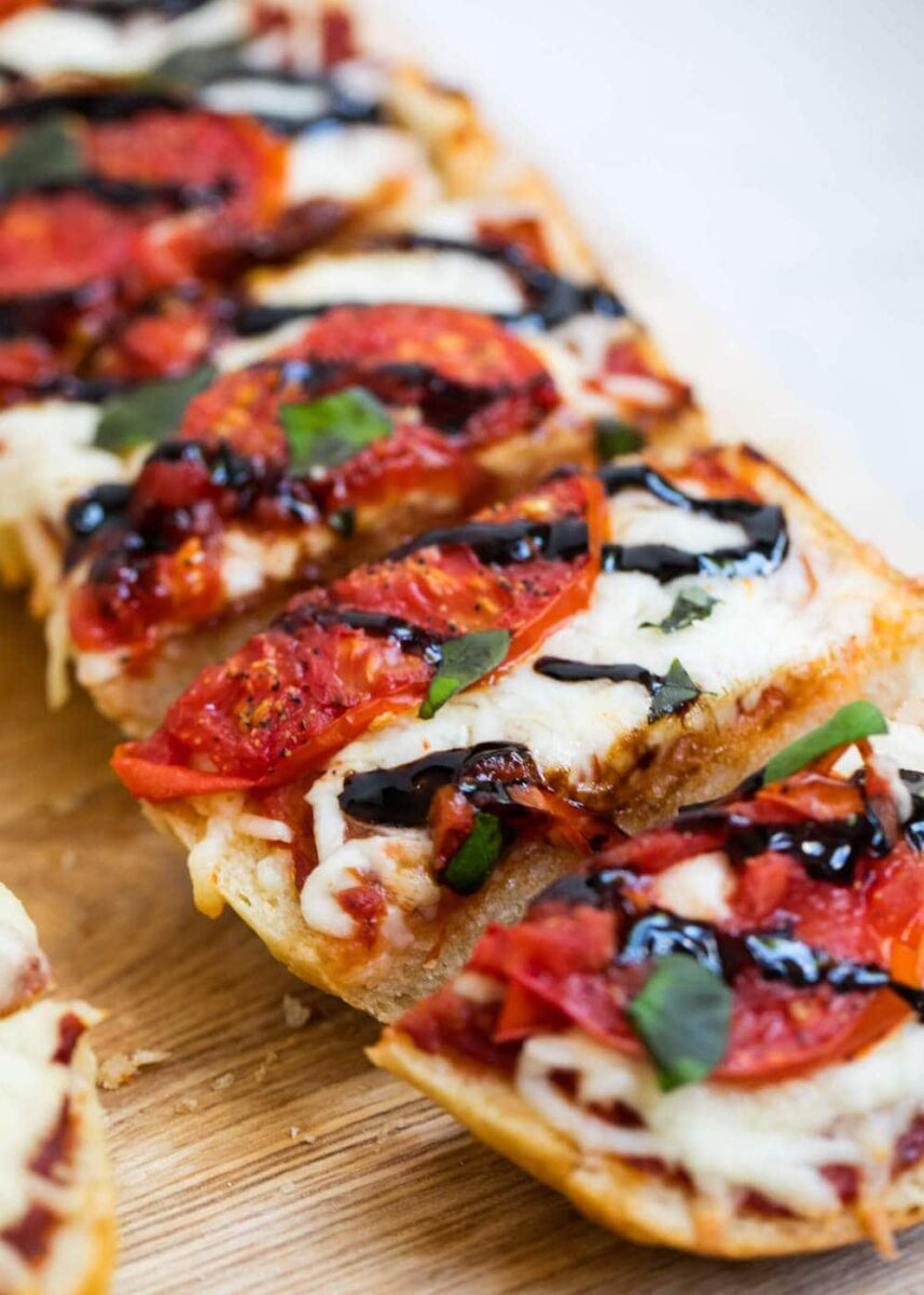 homemade caprese french bread pizza