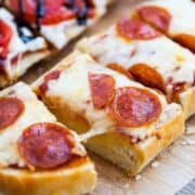 french bread pepperoni pizza cut into slices
